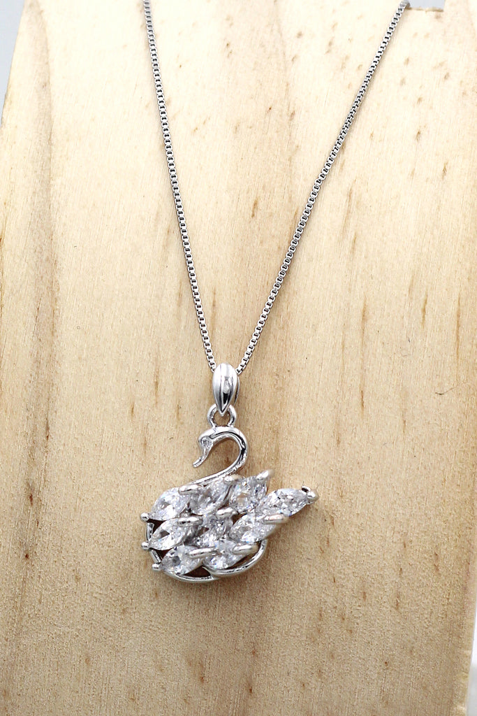 silver swan crystal pendant necklace