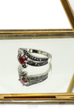 fashion red crystal silver ring