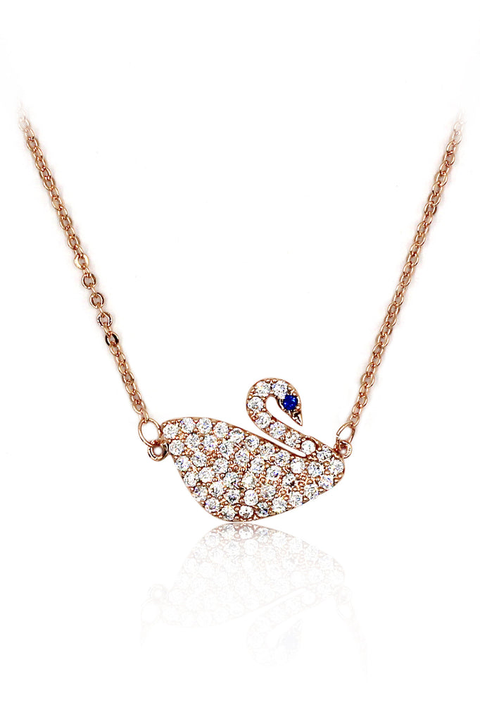 delicate blue eyes crystal swan necklace