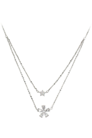 lovely crystal flower necklace earrings set