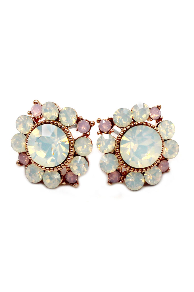 elegant pink and white crystal earrings