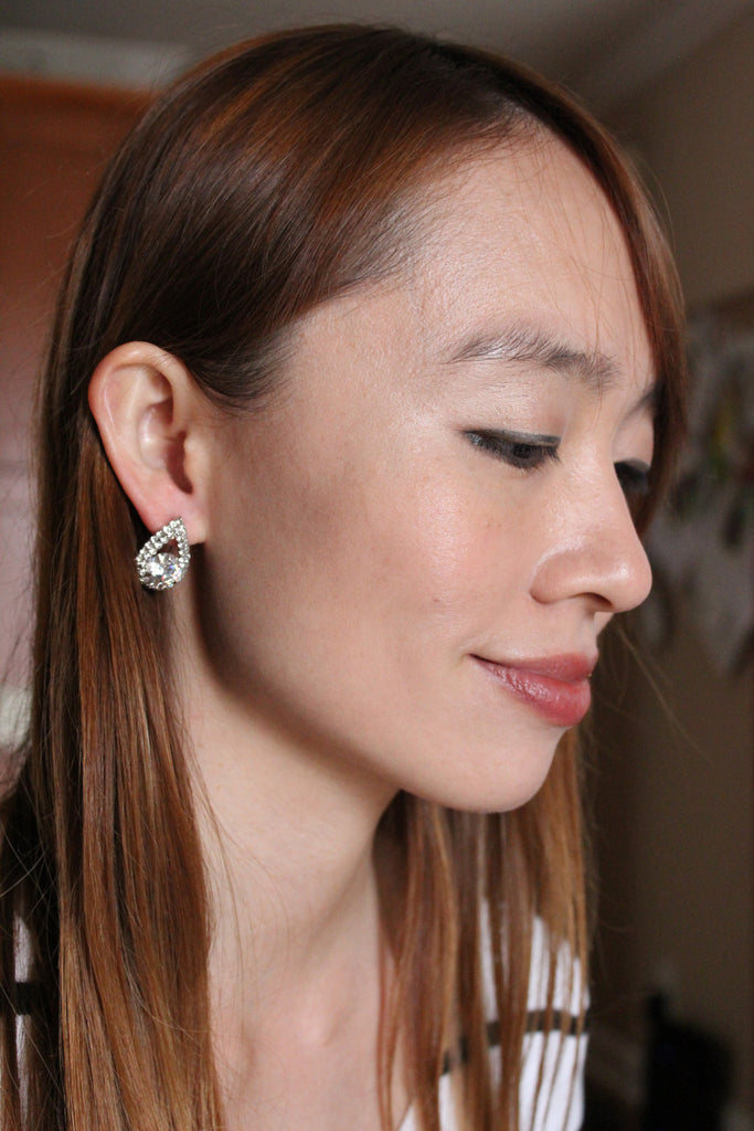 flash drops crystals silver earrings