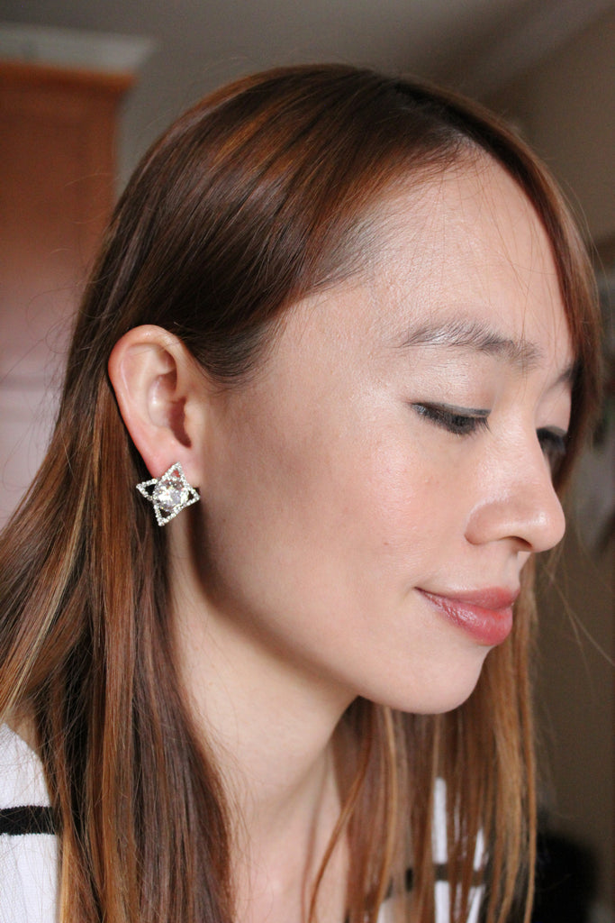 shining hermit darts crystal silver earring