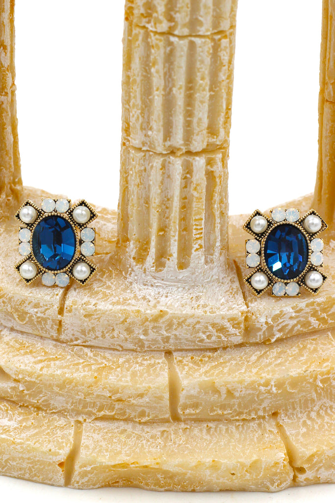 elegant colour crystal and pearl gold rim earrings