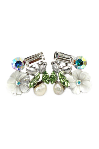 Retro Three Leaves crystal earrings