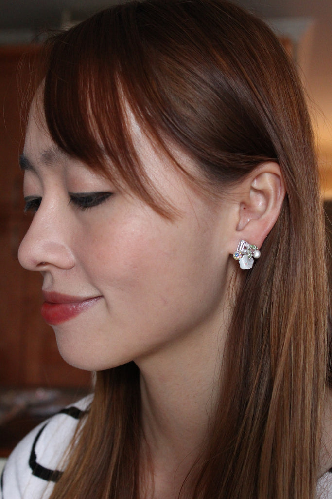 lovely flower and little bird crystal earrings