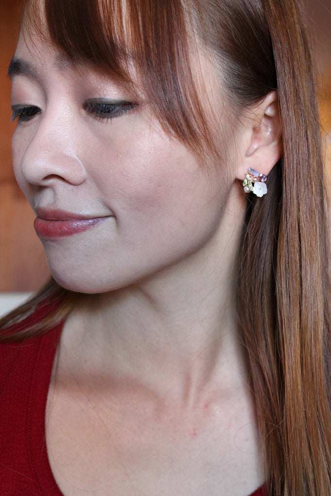 lovely flower and little bird crystal earring