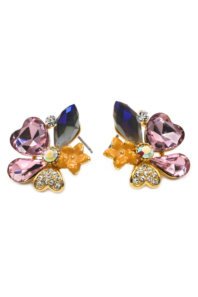 lovely cordate flower purple crystal earrings