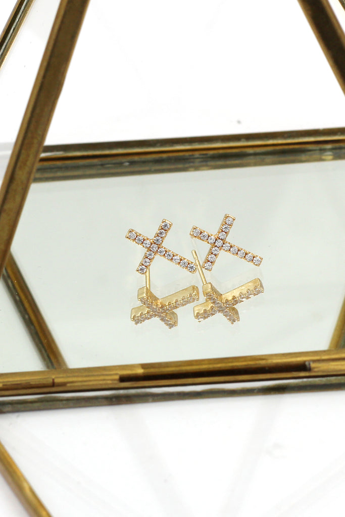 silver cross crystal trio set