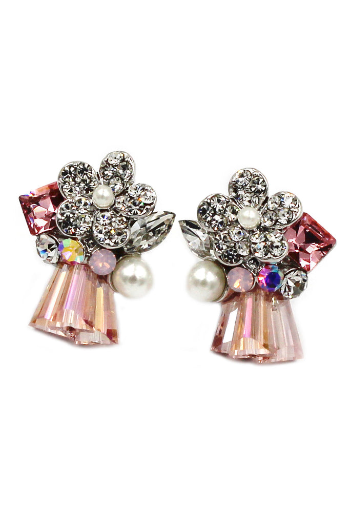 lovely flower pink skirt crystal silver earrings