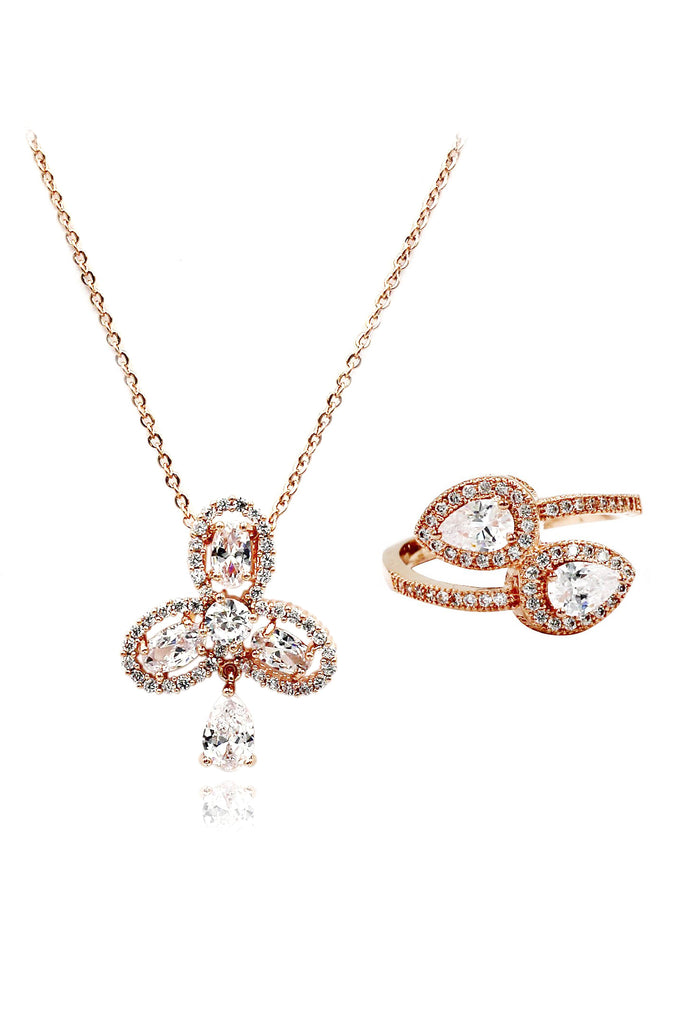 clover crystal ring necklace set