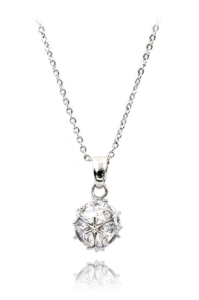 silver mini crystal ball necklace