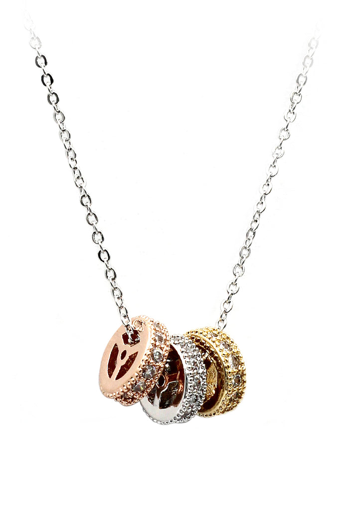 small wheel crystal necklace
