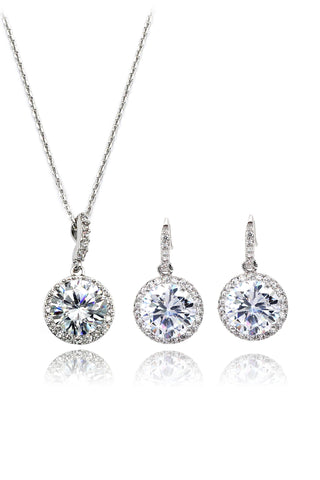 silver leaf crystal earrings necklace set
