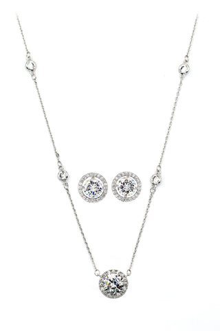 four prong crystal ring necklace set
