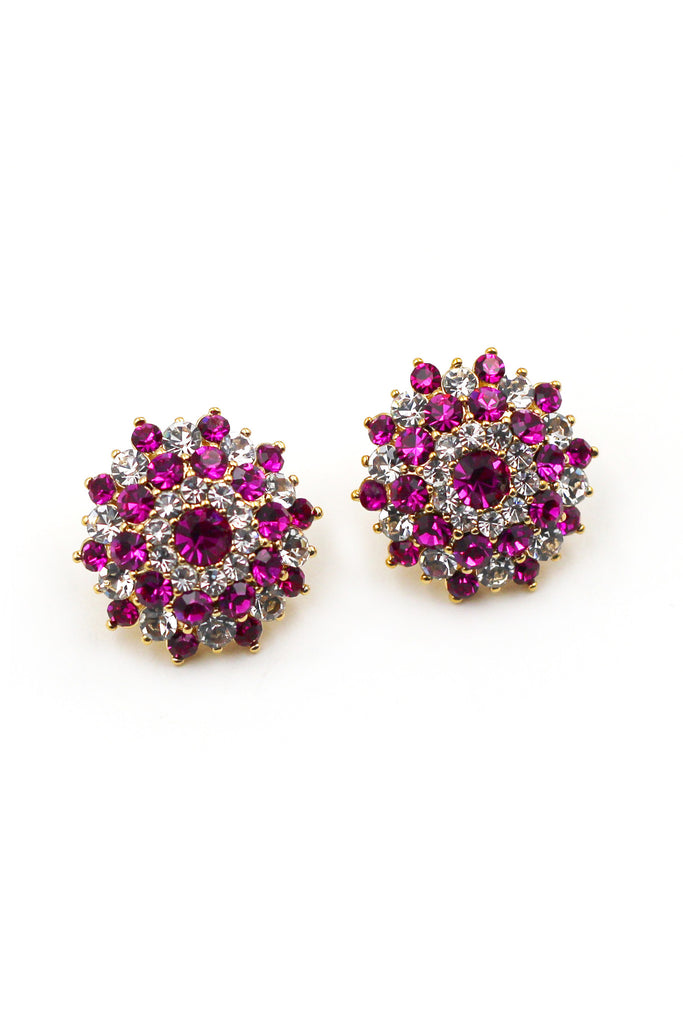 Noble Round purple crystal Earrings