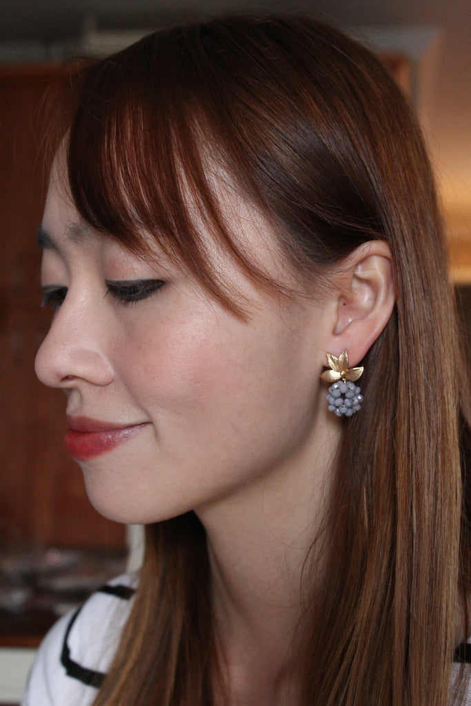 lovely gold leaf crystal grapes earrings