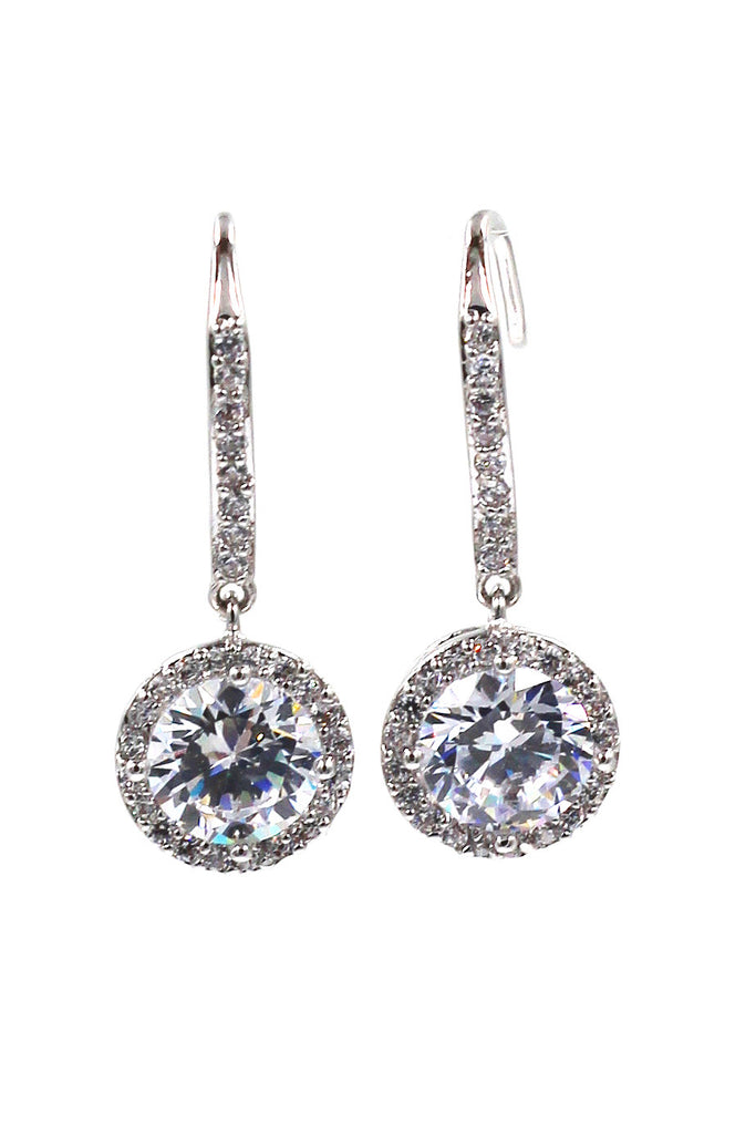 sparkling crystal pendant silver earrings