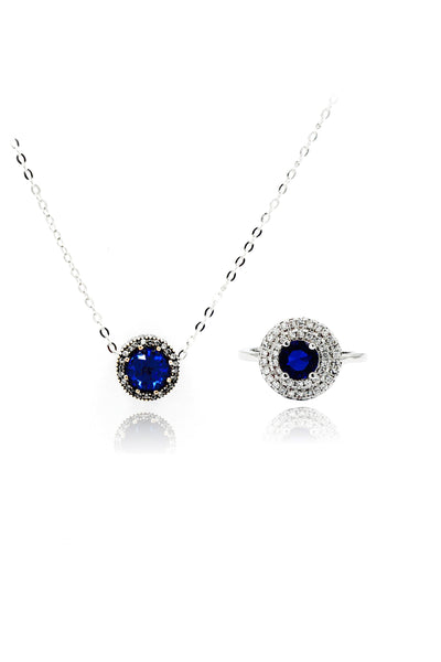 fashion blue crystal ring necklace set
