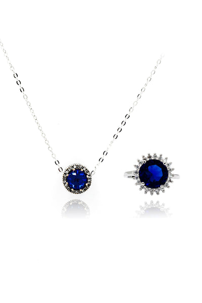 blue noble crystal ring necklace set