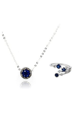 fashion luxury circle wheel crystal necklace earrings set