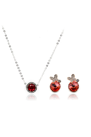 fashion shiny crystal silver necklace earrings sets