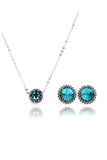 fashion blue crystal earrings necklace set
