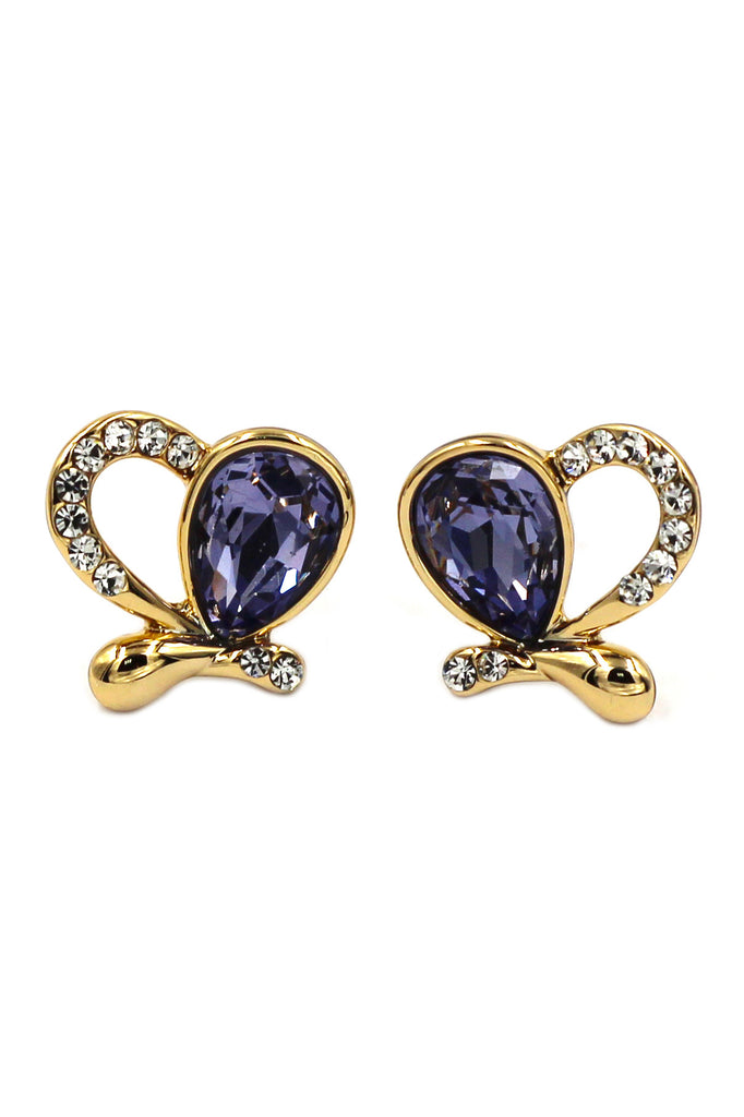 lovely asymmetry golden heart purple crystal earrings
