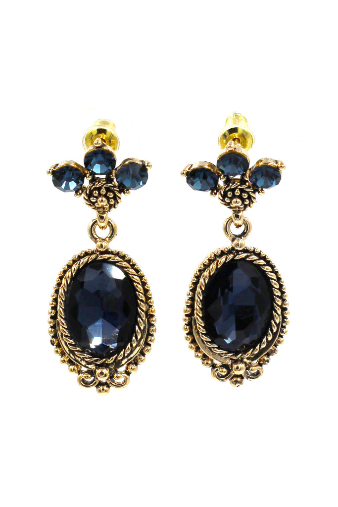 classic style blue crystal pendant golden earrings
