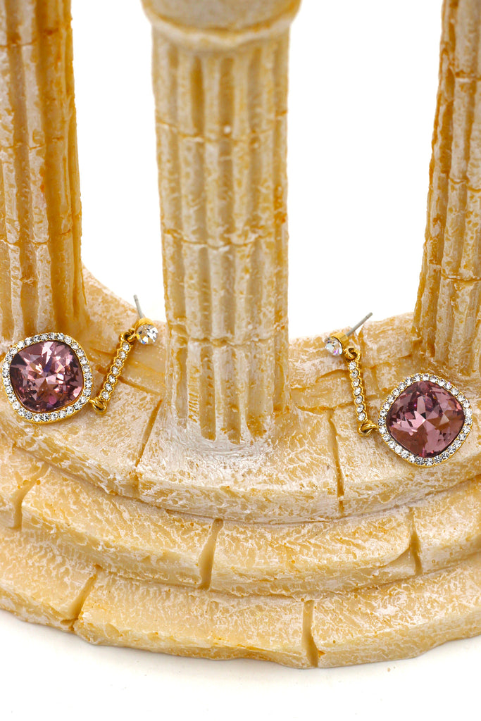 sparkling crystal golden rim earrings