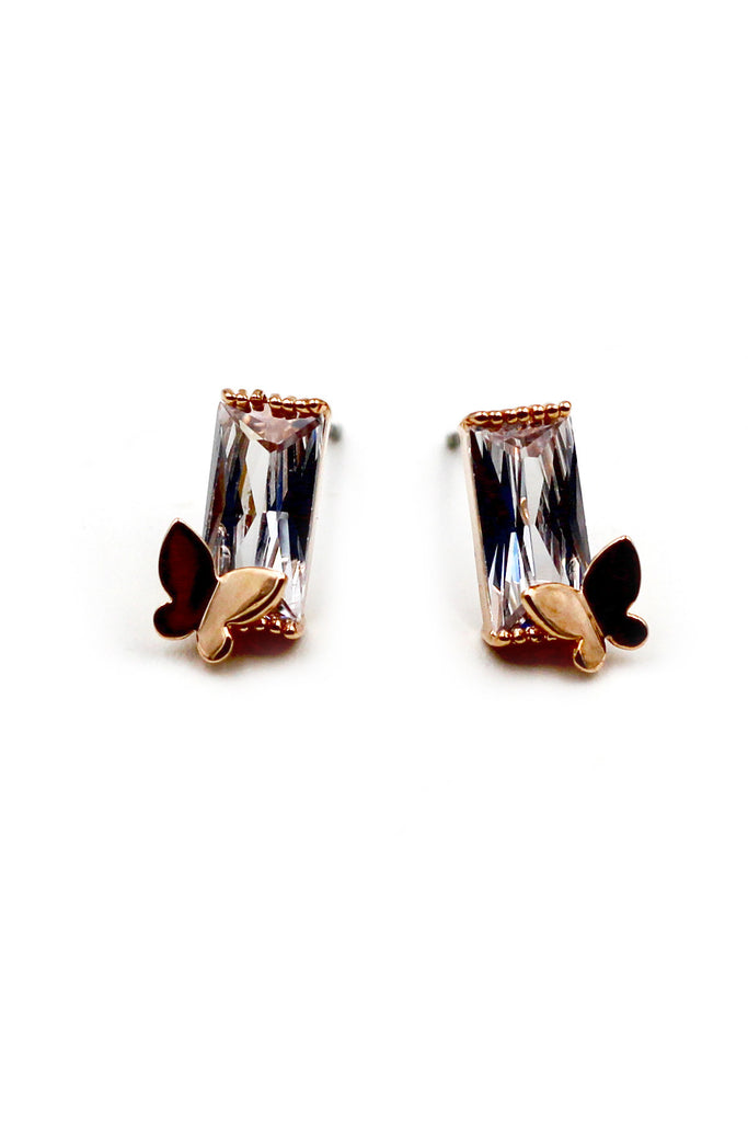 Mini butterfly  crystal earrings