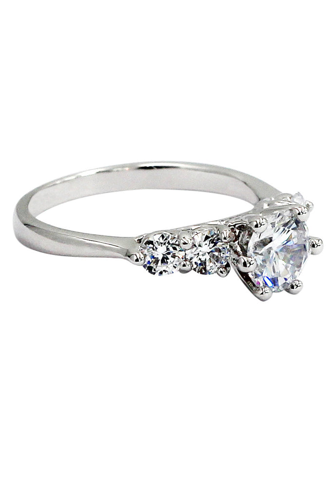 sparkling crystal silver ring