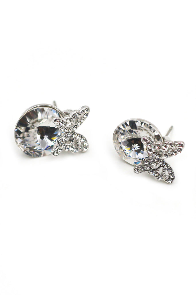 Silver Butterfly Crystal Earrings