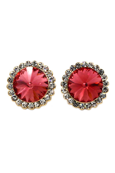 noble crystal red flower golden rim earrings