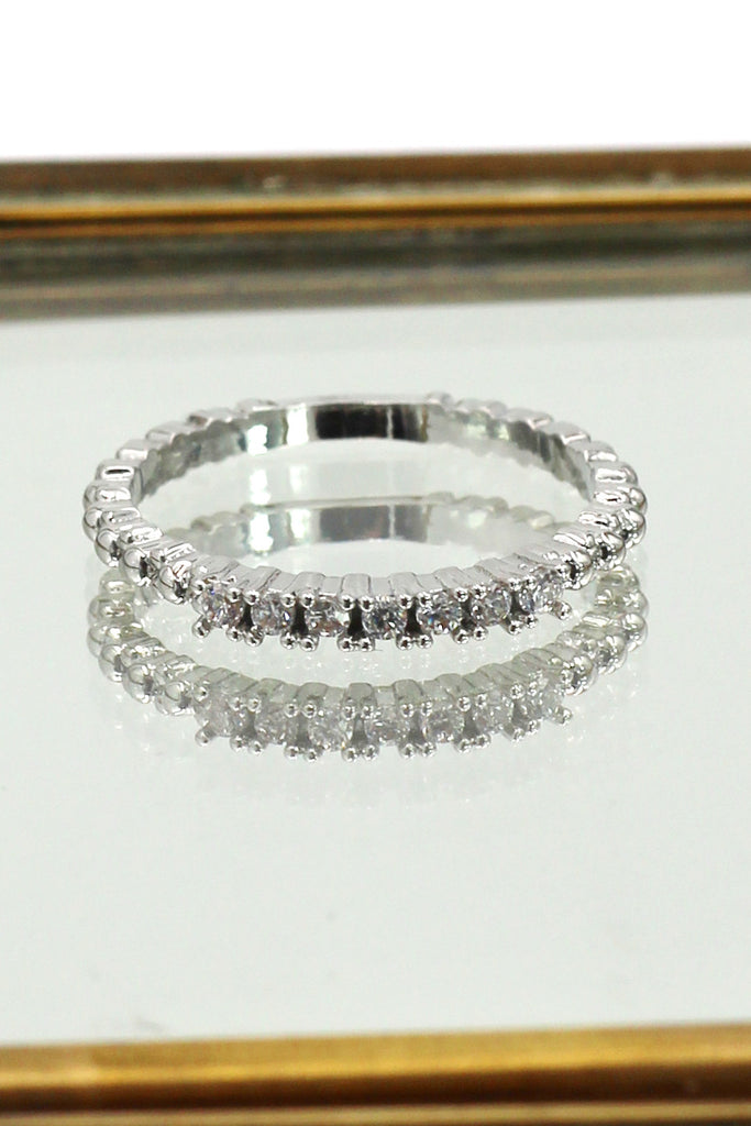 concise silver crystal ring
