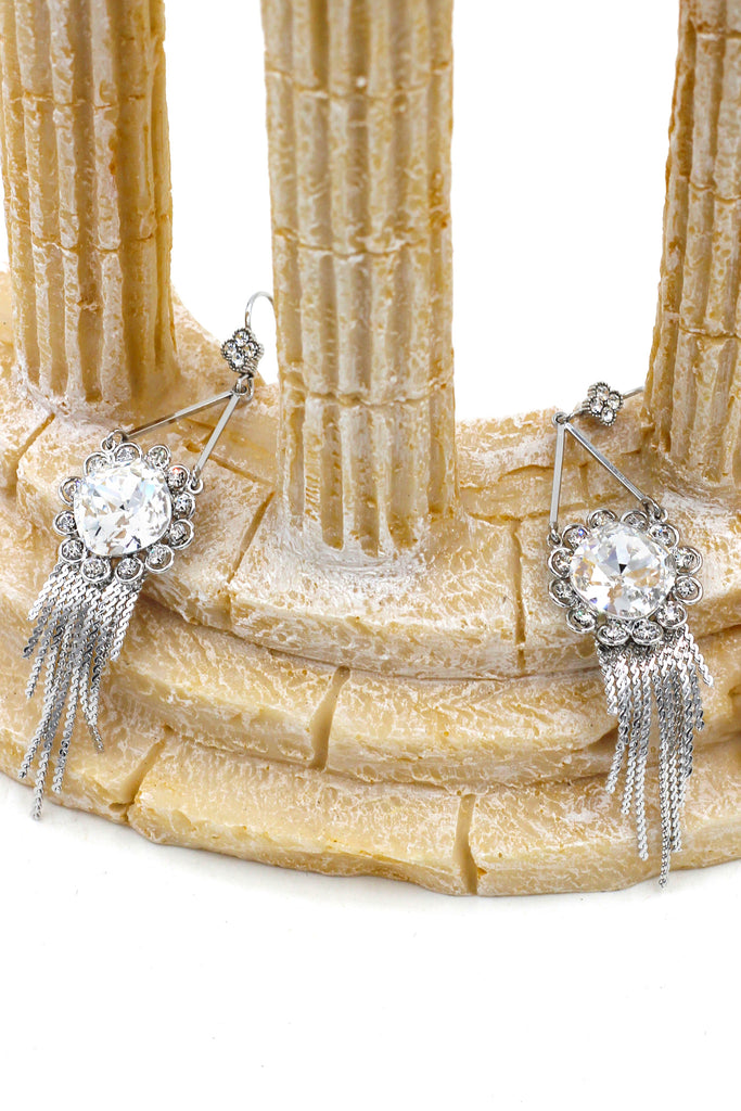 noble pendant sunflower crystal tassel silver earrings