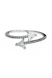 triangle arc bright crystal ring