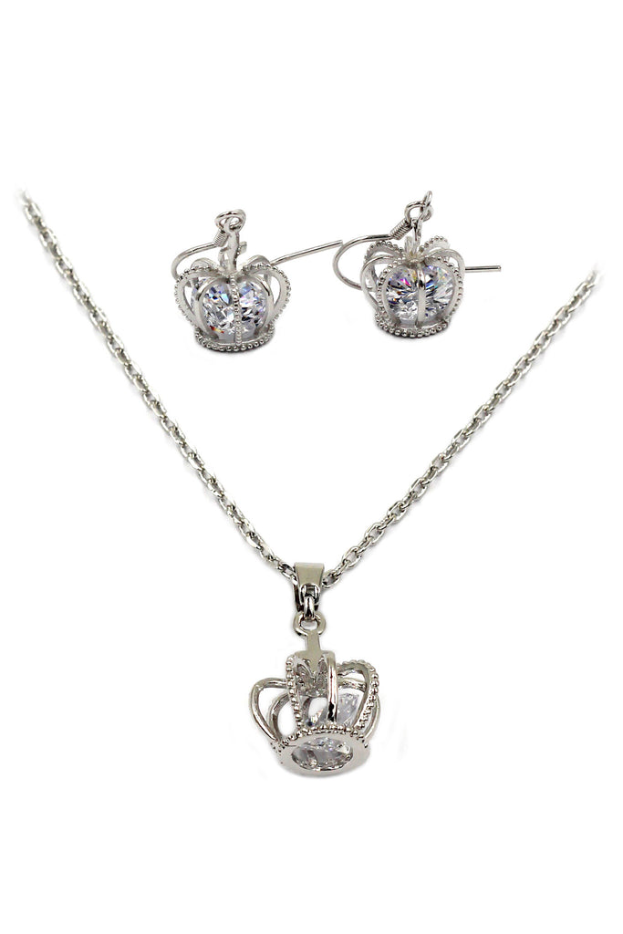 mini crown crystal necklace earrings set