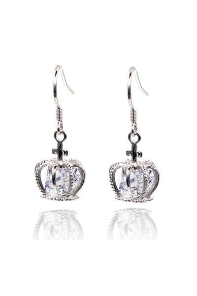 mini crown crystal earrings