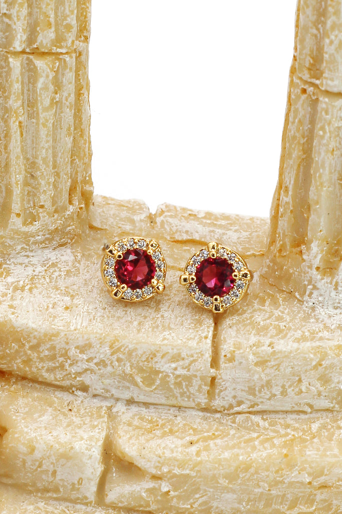 fashion gold red earrings necklace set
