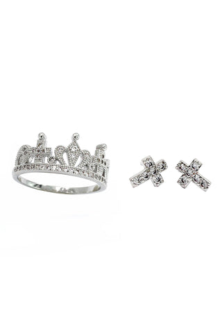 fashion micro inlay crystal crown ring
