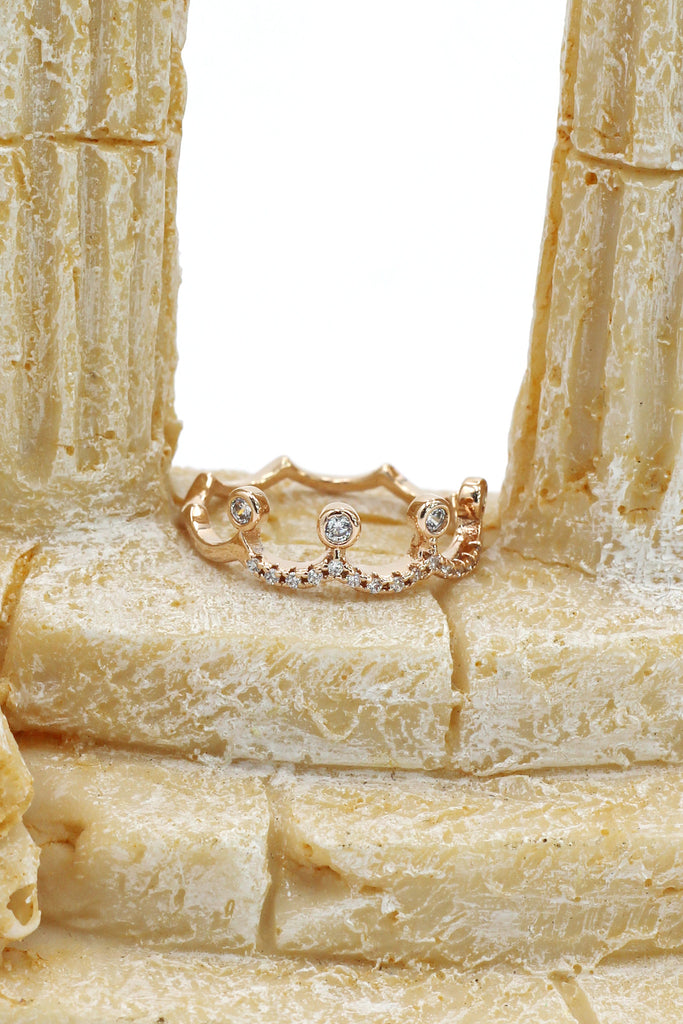 small crown rose gold mosaic crystal ring