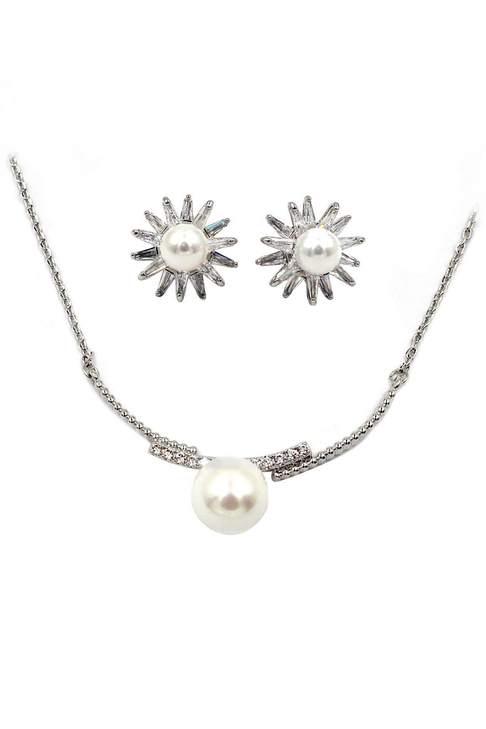 small daisy crystal flower pearl earring necklace set