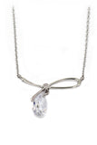 simple crystal pendant silver necklace