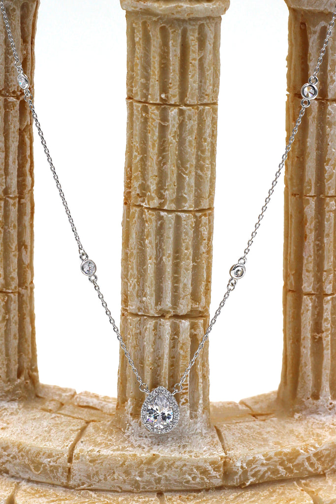 elegant crystal droplets silver necklace