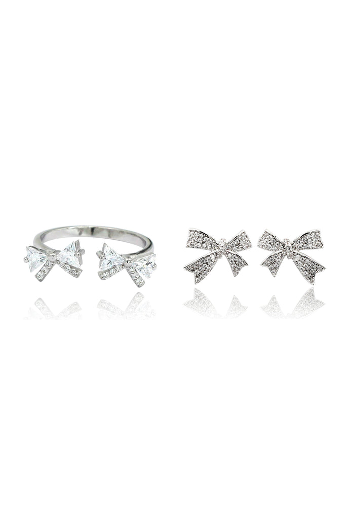 cute crystal bow ring earring set