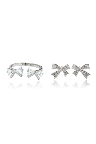 silver crown ring mini cross earrings set