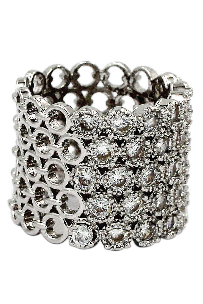 luxury multi-row crystal silver ring