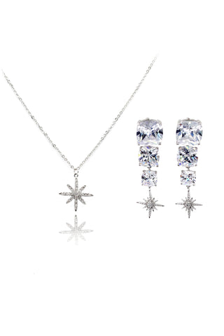 Elegant Maple crystal silver earrings