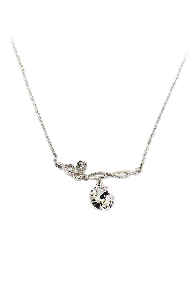lovely flower crystal pendant silver necklace